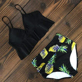 Vista Karina Black-Pineapple / S High Waist Ruffled Bathing Suit