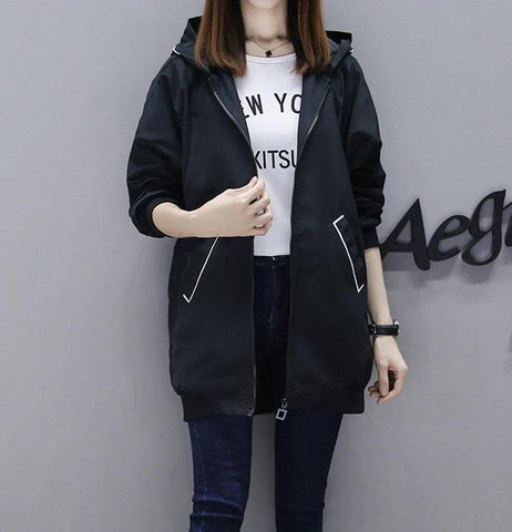 Vista Karina Black / S Fashion Long Trench Windbreaker Hooded Coats