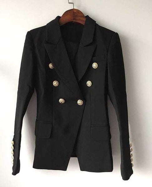 Vista Karina Black / S HIGH QUALITY  Runway Style Women's Gold Buttons Double Breasted Blazer