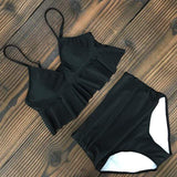 Vista Karina Black / S High Waist Ruffled Bathing Suit