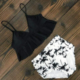 Vista Karina Black-Tree / S High Waist Ruffled Bathing Suit