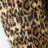 Vista Karina Casual Leopard Blazer Pockets Decorate Notched Collars