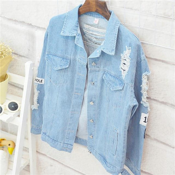 Vista Karina denim / S Retro Washing Frayed Embroidery Letter Patch Bomber Jacket