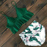 Vista Karina Green-Leaves / S High Waist Ruffled Bathing Suit