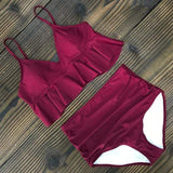 Vista Karina Maroon / S High Waist Ruffled Bathing Suit