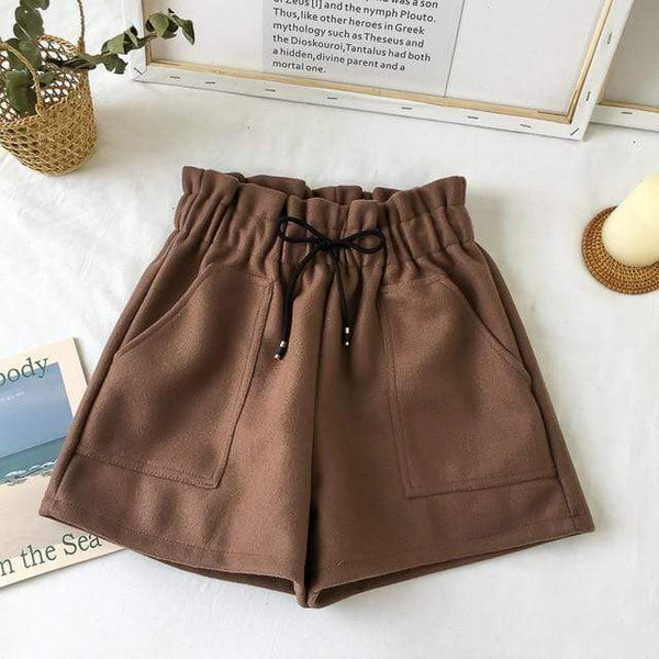Vista Karina Milk tea / One Size Coffee Bean Loose Thick Warm Straight Shorts