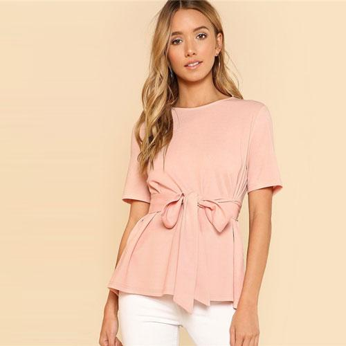 Vista Karina Pink / XS Self Belt Keyhole Back Solid Top Weekend Minimalist Elegant Blouse