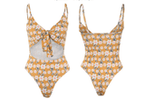 Vista Karina swimsuit Yellow / XL Honey Nut Flower print tie pad swimsuit
