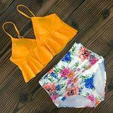 Vista Karina Yellow-Flower / S High Waist Ruffled Bathing Suit