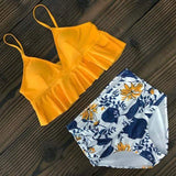 Vista Karina Yellow-Lily / S High Waist Ruffled Bathing Suit