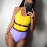 Vista Karina Yellow Patchwork Swimsuits Women Cross Strap Beachwear Bathing Suits