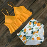 Vista Karina Yellow-Pineapple / S High Waist Ruffled Bathing Suit