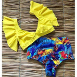 Vista Karina Yellow / S Floral Ruffled Hem Bikini Set