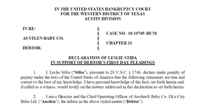 Austlen Baby Co. Bankruptcy Update