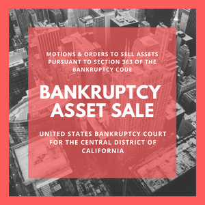 Asset Sale Motion Filed in Bankruptcy Case: 9:16-bk-11261-DS John M. Carroll, III (United States Bankruptcy Court for the Central District of California)