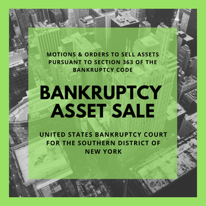 Asset Sale Motion Filed in Bankruptcy Case: 16-11895-jlg China Fishery Group Limited (Cayman) (United States Bankruptcy Court for the Southern District of New York)