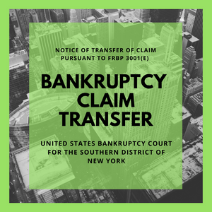 Bankruptcy Claim Transferred in Bankruptcy Case: 15-11740-shl Fremak Industries, Inc.  (United States Bankruptcy Court for the Southern District of New York)
