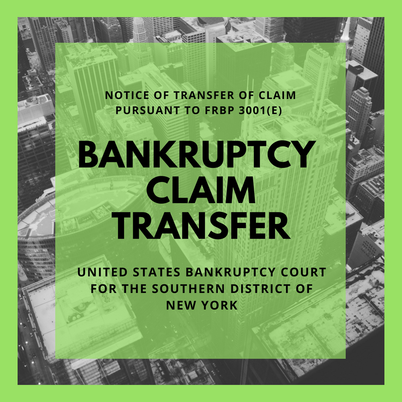 Bankruptcy Claim Transferred in Bankruptcy Case:08-13555-scc Lehman Brothers Holdings Inc.  (United States Bankruptcy Court for the Southern District of New York)