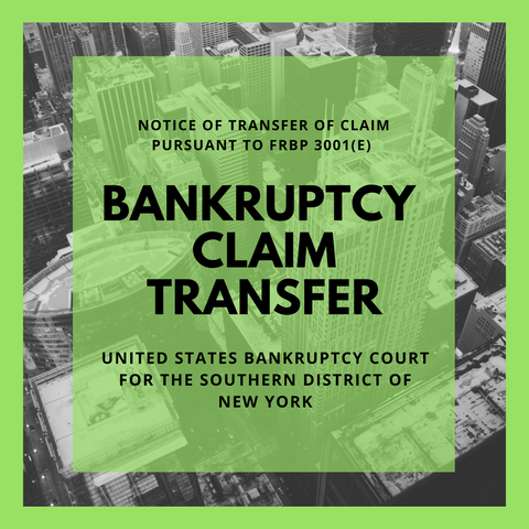 Bankruptcy Claim Transferred in Bankruptcy Case: 18-12694-jlg Rosh Tish Ventrures, LLC  (United States Bankruptcy Court for the Southern District of New York)