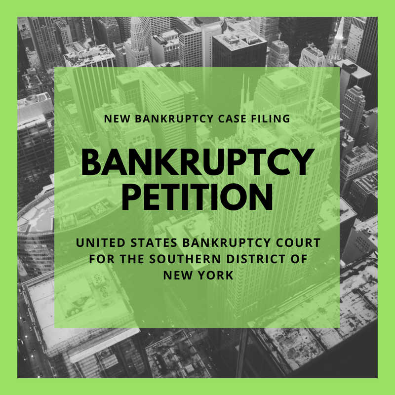Bankruptcy Petition - 18-13007-cgm Sagi Restaurant Corp. (United States Bankruptcy Court for the Southern District of New York)