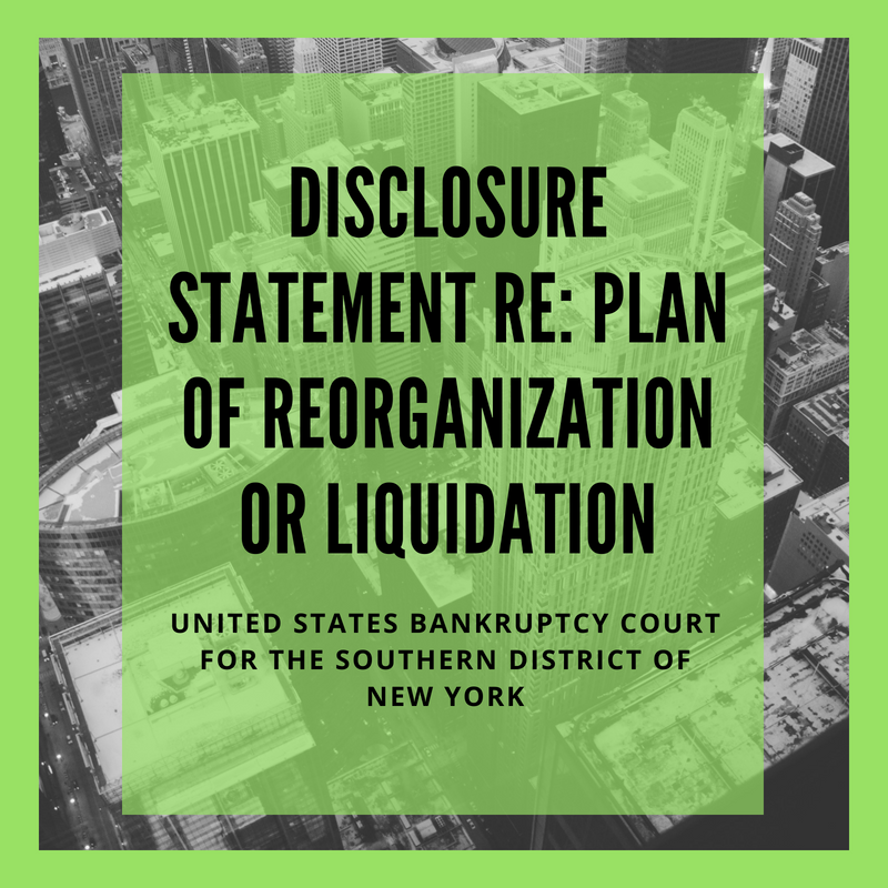 Disclosure Statement With Respect to Plan of Reorganization or Liquidation Filed in Bankruptcy Case: 16-12539-mew Tapmasters Chelsea, LLC (United States Bankruptcy Court for the Southern District of New York)