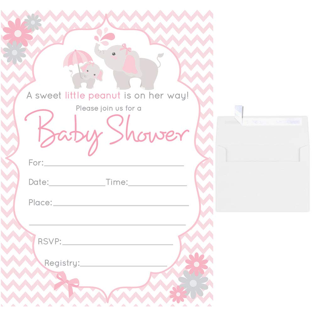 9b4f21437 50 Fill in Blank Baby Shower Invitations Girl Elephant Pink with White  Envelopes