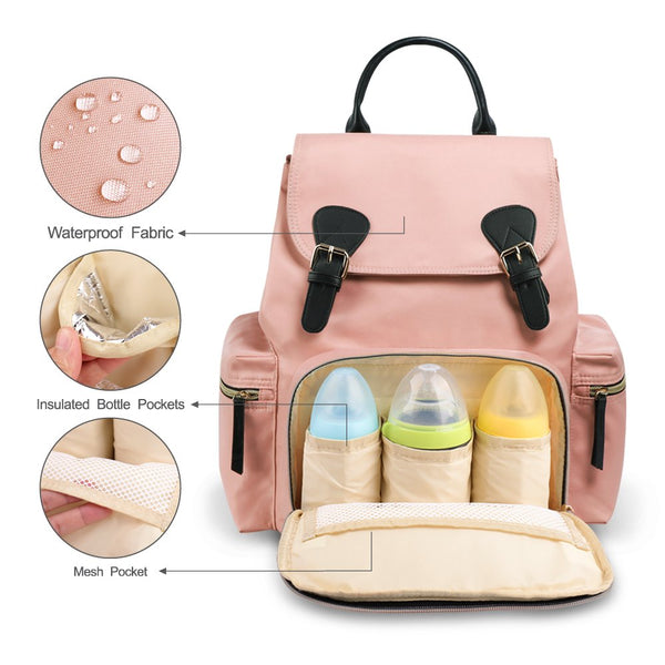Vogshow Waterproof Diaper Bag, Multifunction Stylish Travel Backpack  Maternity Nappy Bag for Baby Care, Large Capacity and Durable (Pink) Pink