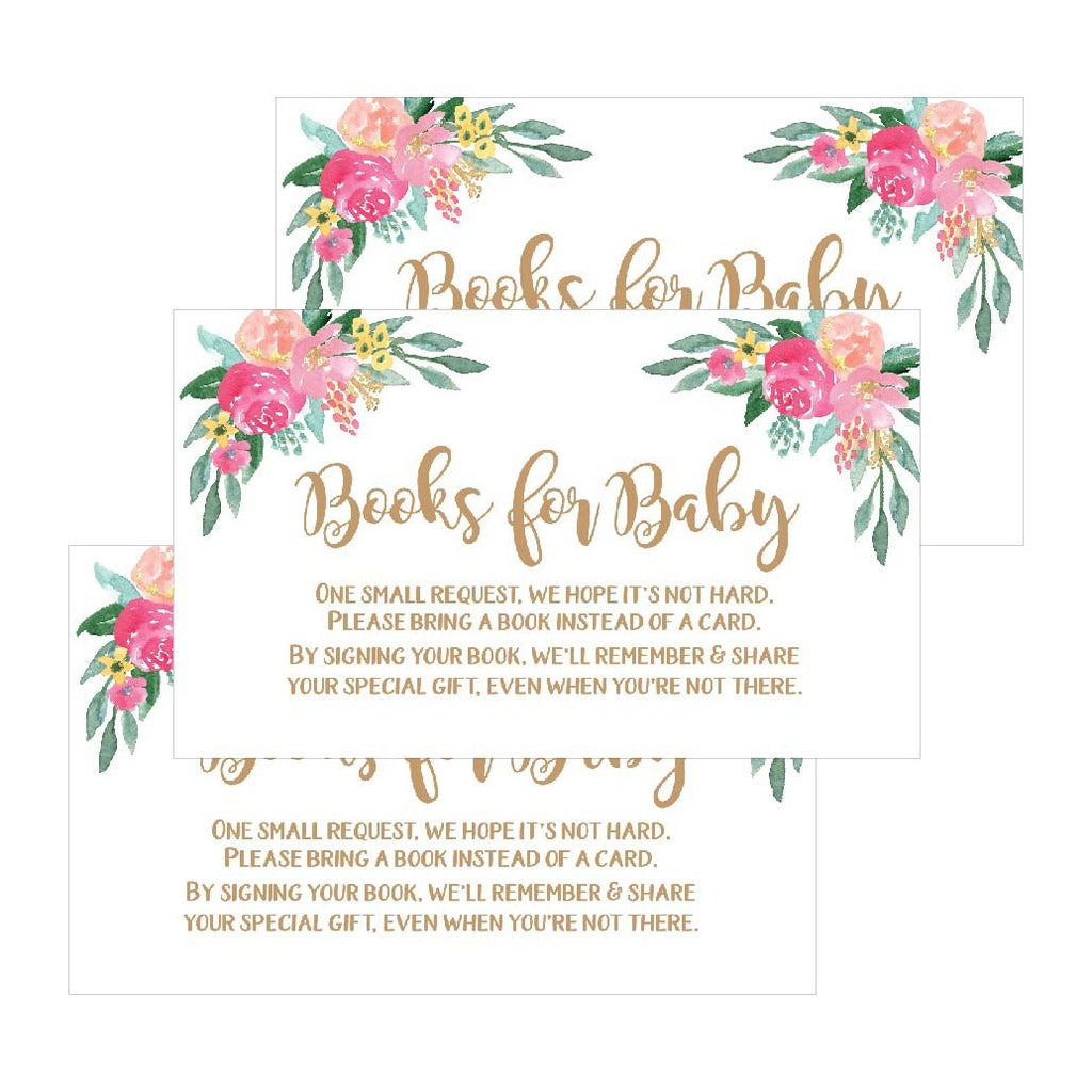 25 Flower Books For Baby Request Insert Card Girl Gold Floral