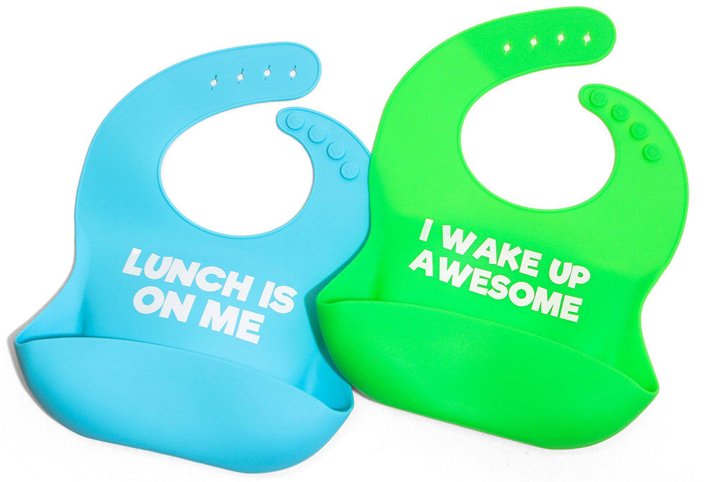 5152250b5 Funny saying silicone baby bib shower gift set - perfect for new mom-dad-