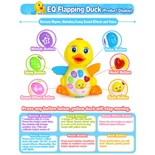 Coolecool Cute Duck Baby Musical Toys 18 Months Light Up Educational  Electronic Activity Sound Music Toys for Toddlers Infant Preschools Kids  (Yellow)