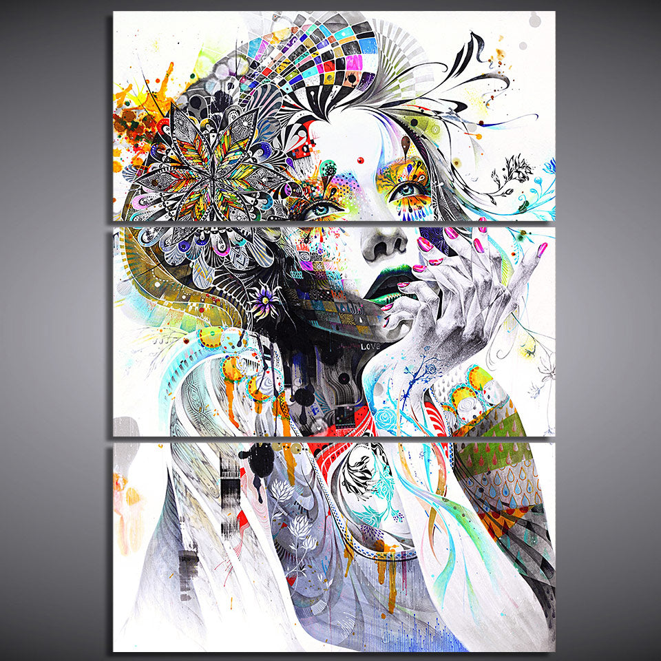HD Spray Print 3 Piece Canvas Girl Face Flower Hair Painting Wall Pictures - Smiley Giant