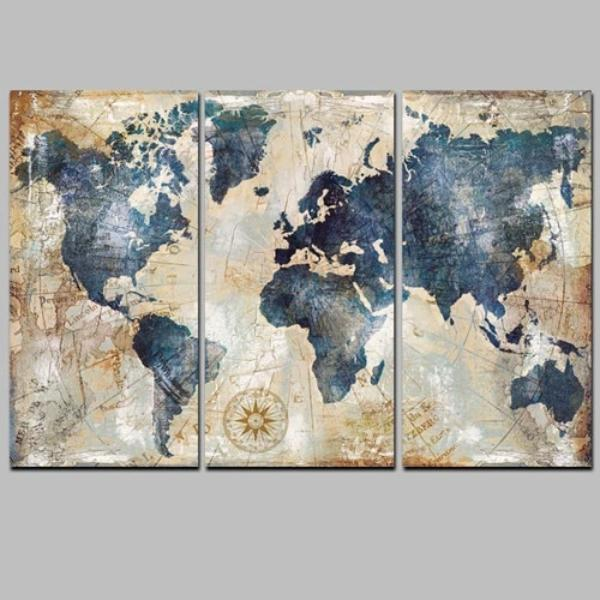 3 Panel Watercolour World Map Canvas Prints - Smiley Giant