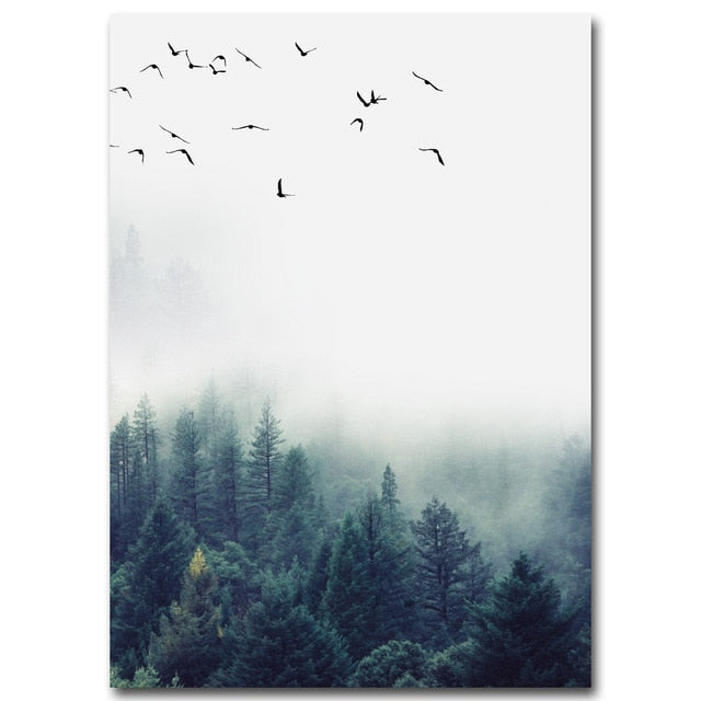 Modern Nordic Style Forest Landscape Wall Canvas Poster - Smiley Giant