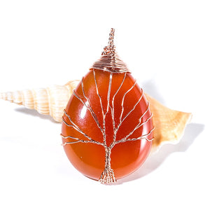 Tree of Life Pendant Natural Crystal Stone Necklace - Smiley Giant
