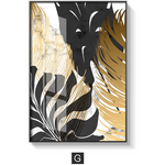 Modern Nordic Style Golden Leaf Painted Canvas Poster - Smiley Giant