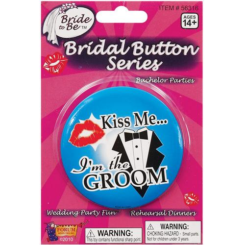 Kiss Me I'm the Groom Button