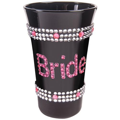 Bride Shot Glass w/Pink Stones - Black