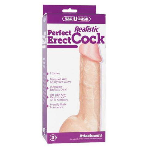 "Vac-U-Lock 7"" Perfect Realistic Cock - White"