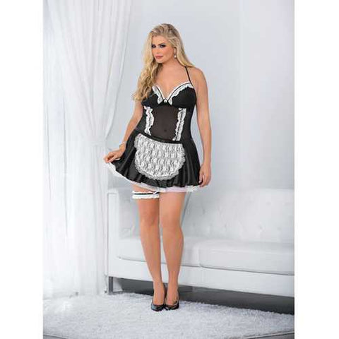 Sexy French Maid Dress Black/White 3X