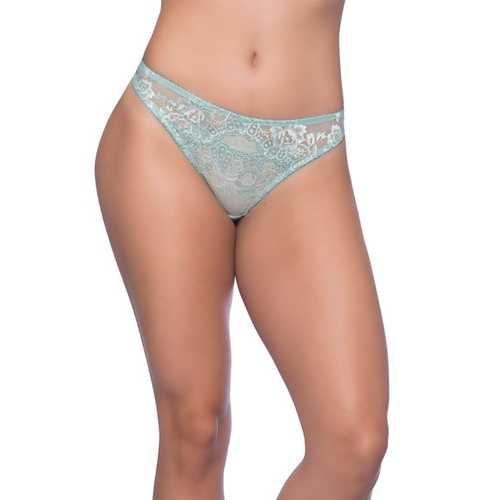 Josilyn Lace Thong w/Scalloped Edge Keyholes Dusty Turquoise 1X