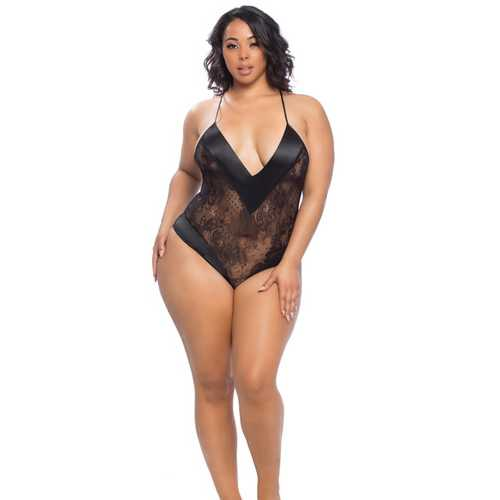 Roxanne Lace Teddy w/Wide Satin Edges Black 1X