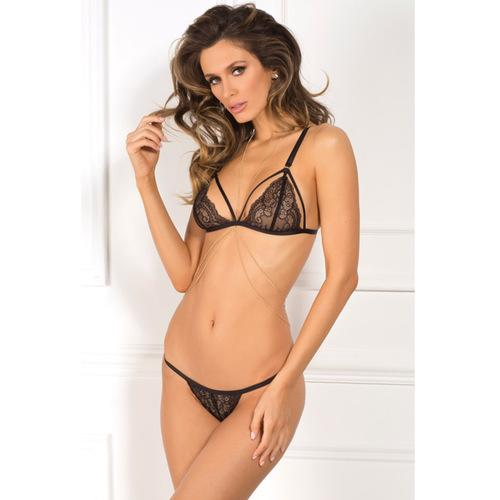 Rene Rofe Lace Bra & Panty w/Chain Harness Black M/L