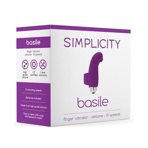 Shots Simplicity Basile Finger Vibrator - 10 Speed Purple