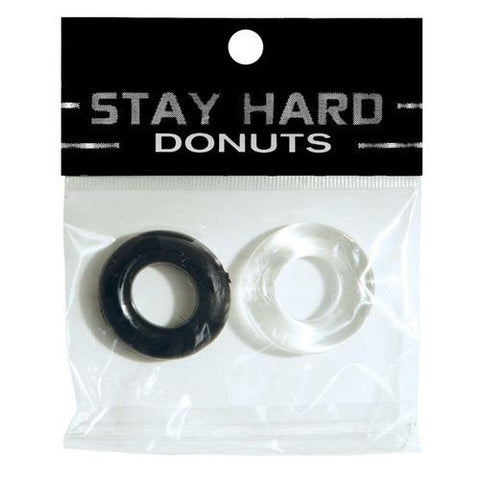 Ignite Power Stretch Donut Cock Ring - Clear/Black Pack of 2