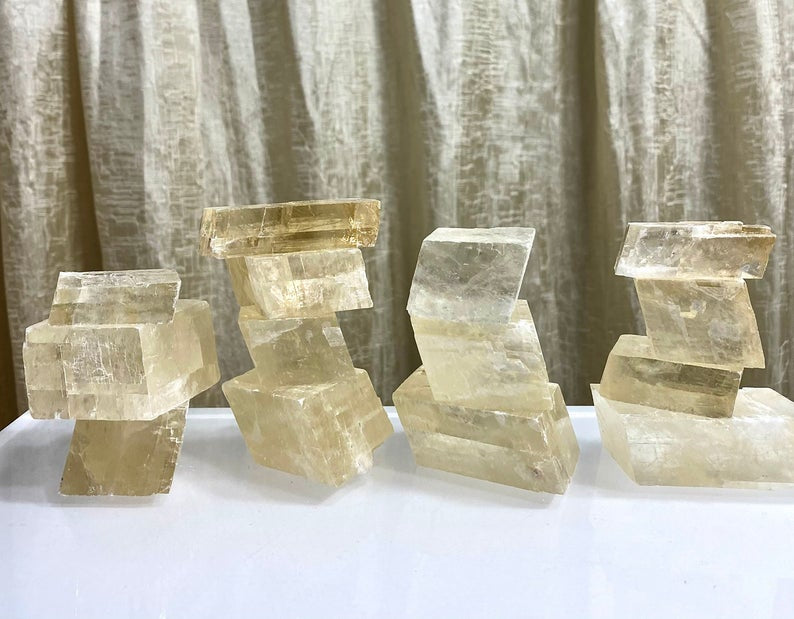 Natural Honey Calcite Crystal Cubes