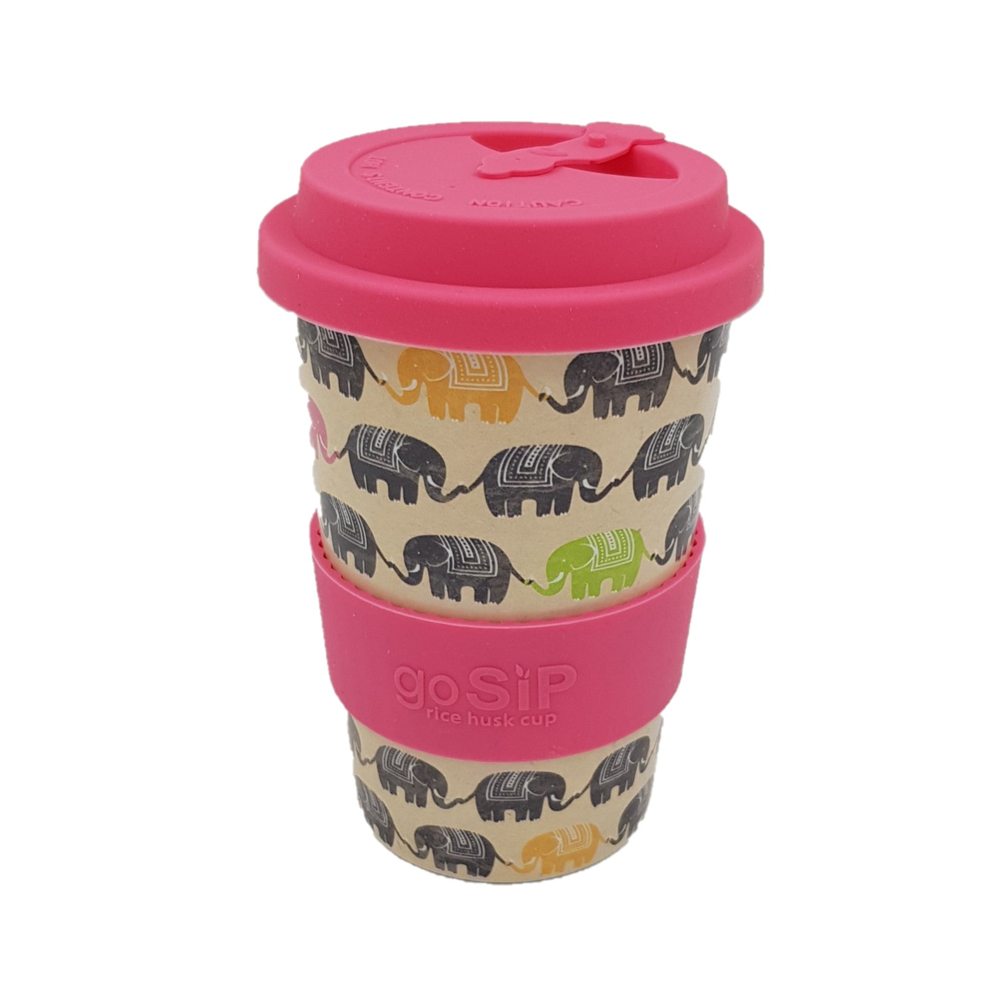 Go Sip Rice Husk Reusable Coffee Cup Elephant Print </div>