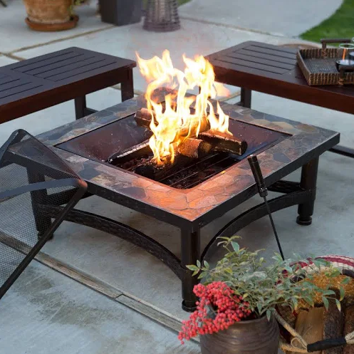 Red Ember Castle Pines 34-in. Square Slate Fire Pit with FREE Cover