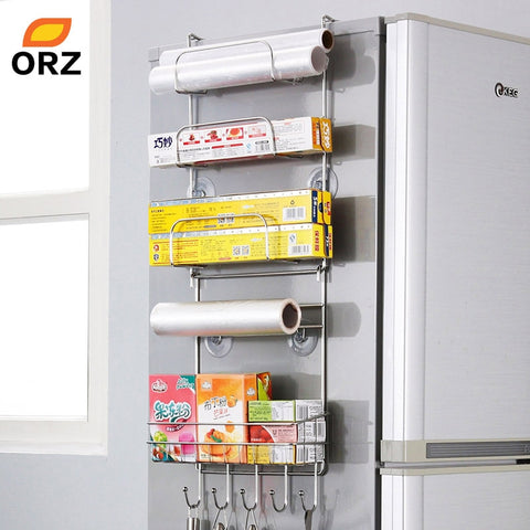 ORZ Fridge Organizer Stainless Steel Kitchen Storage Rack Fridge Side Shelf Storage Hooks Kitchen Accessories Organizer Holder
