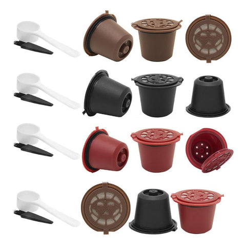 1 set (3Pcs) Reusable Refillable for Nespresso Coffee Capsule With 1PC Plastic Spoon