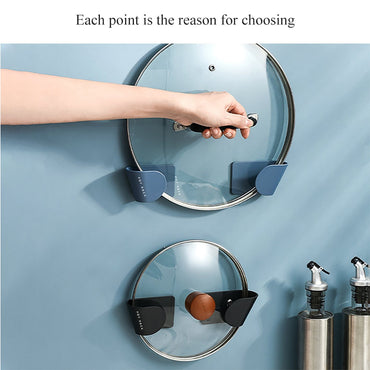 Self Adhesive Pot Lid Holder Punch-Free Pan Cover Storage Rack Holder Wall Mounted Kitchen Cooking Utensil Tool Organizer